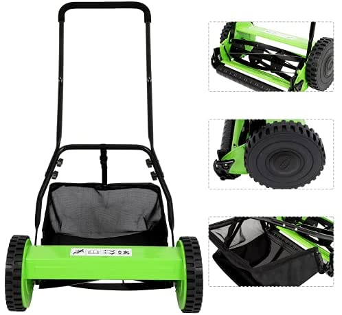 41YqaON27BS. AC  - Olenyer 16-Inch Quiet Cut Push Reel Lawn Mower with 5-Blade Push Reel,Green