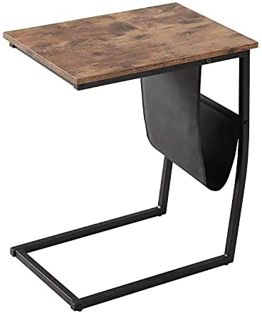 41fRDesrfuS. AC  - Bonzy Home Snack Side Table with Storage C Shaped End Table for Sofa Couch,Living Room,Bedroom & Small Spaces