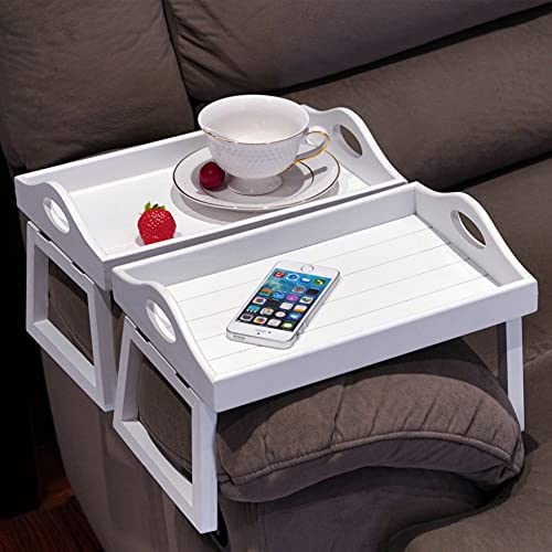 41g4rdWxE6S. AC  - TRSPCWR 2pcs Arm Clip Table, Couch Arm Table, 7.8x11.8in, Arm Rest Table, Armrest Table Tray, Sofa Armrest Tray, Side Table Tray for Drinks, Portable Remote Control, Snacks Holder, Wooden, White