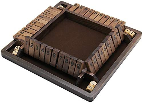 41lvJiHR12L. AC  - Juegoal Wooden 4 Players Shut The Box Dice Game, Classics Tabletop Version and Pub Board Game, 12 inch