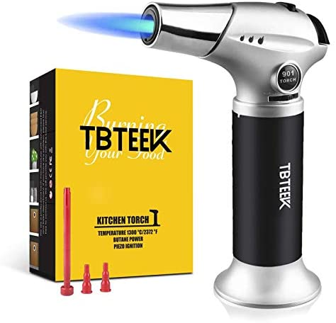41nRdS03CbL. AC  - TBTEEK Kitchen Torch, Fit All Tanks Butane Torch Cooking Torch with Safety Lock & Adjustable Flame for Cooking, BBQ, Baking, Brulee, Creme, DIY Soldering(Butane Not Included)