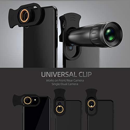41pxFM0CXlL. AC  - LIERONT Phone Camera Lens for iPhone Samsung Huawei, 25X Telephoto Lens, 4K HD 0.65X Wide Angle Lens & 25X Macro Lens(Screwed Together), 210° Fisheye Lens, Kaleidoscope Lens (Not Pro Camera)