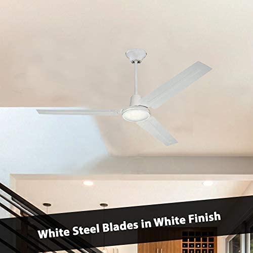 41ttqm0RX6L. AC  - Ciata Lighting Industrial 56 Inch Three Blade Indoor Ceiling Fan, with Steel Blades in White Finish - 2 Pack