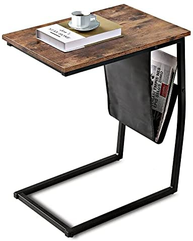 41w8VJ8UMHS. AC  - Bonzy Home Snack Side Table with Storage C Shaped End Table for Sofa Couch,Living Room,Bedroom & Small Spaces