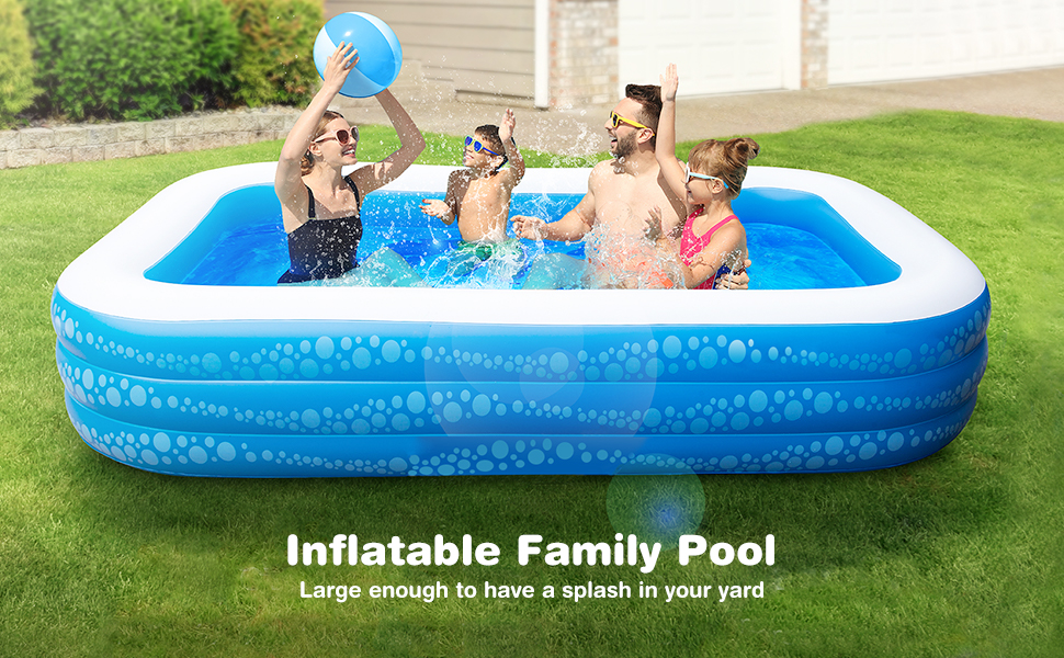 """48bf0737 0779 42f1 8750 ebadb57763dc.  CR0,0,970,600 PT0 SX970 V1    - Inflatable Pool, Hesung 117"""" X 69""""X 21"""" Family Swimming Pool for Kids, Toddlers, Infant, Adult, Full-Sized Inflatable Blow Up Kiddie Pool for Ages 3+, Outdoor, Garden, Backyard, Summer Swim Center"""