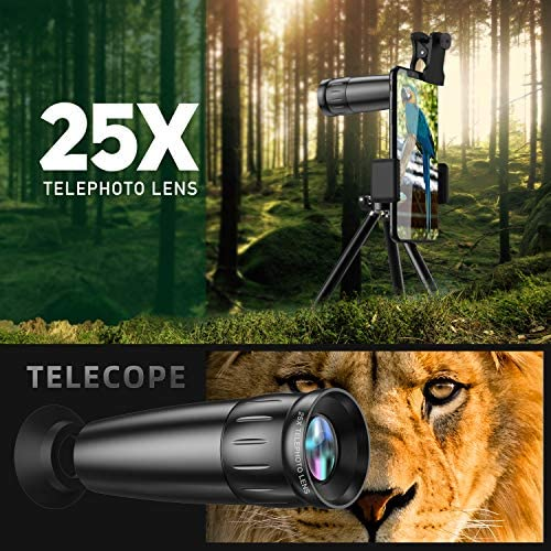 51 xiKWeuJL. AC  - LIERONT Phone Camera Lens for iPhone Samsung Huawei, 25X Telephoto Lens, 4K HD 0.65X Wide Angle Lens & 25X Macro Lens(Screwed Together), 210° Fisheye Lens, Kaleidoscope Lens (Not Pro Camera)