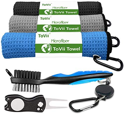 5100 J5uonL. AC  - ToVii Golf Towel Microfiber Waffle Pattern Golf Towel | Brush Tool Kit with Club Groove Cleaner | Golf Divot Tool | Golf Accessories for Men