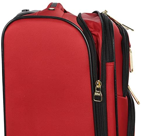 512gOWoH5yL. AC  - Steve Madden Designer Luggage Collection - Lightweight Softside Expandable Suitcase for Men & Women - Durable 20 Inch Carry On Bag with 4-Rolling Spinner Wheels (Rockstar Red)