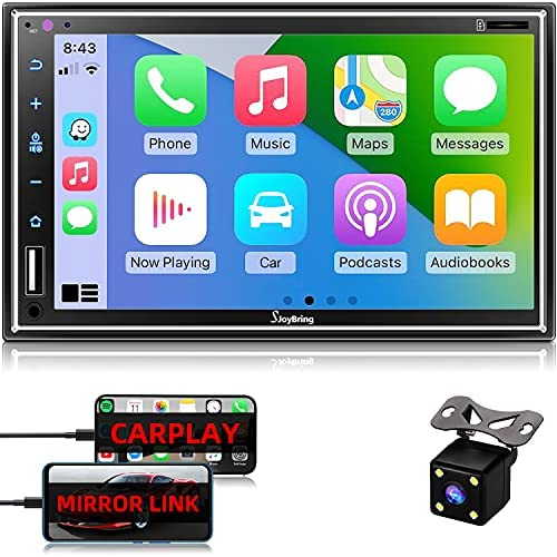 """513EEfKbXNS. AC  - Car Stereo Compatible with Apple Carplay, Double Din 7"""" Full Touch HD Capacitive Screen - Mirror Link, Bluetooth, Backup Camera, Steering Wheel Controls, Subwoofer, USB/SD Port, AM/FM Car Radio"""
