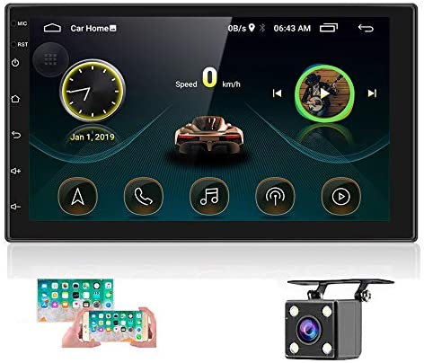 514IQTMDnWL. AC  - Double Din Android Car Stereo with GPS 7 Inch Touch Screen Car Radio Bluetooth Supports Mirror Link for iOS/Android Phones WiFi Connect + Backup Camera