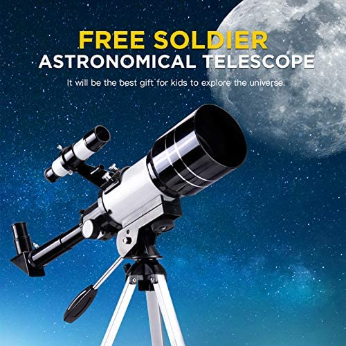 516DL9upSeL. AC  - FREE SOLDIER Telescope for Kids Astronomy Beginners - 70mm Aperture High Magnification Astronomical Refractor Telescope with Phone Adapter Wireless Remote Portable Telescope for Kids,White