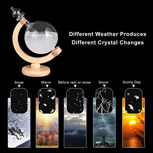 517nC6sjYvL - DRESSPLUS Globe Storm Glass Weather Station with Wooden Base,Creative Fashionable Storm Glass Weather Forecaster,Home and Party Decoration (B)