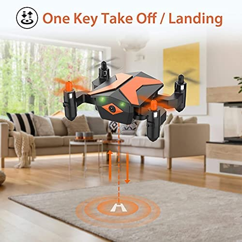 519OoF3I7NS. AC  - Mini Drone with Camera for KidsBeginners, Foldable Pocket RC Quadcopterwith App Gravity Voice Control Trajectory Flight, FPV Video, Altitude Hold, Headless Mode, 360°Flip, Toys Gifts for Boys Girls