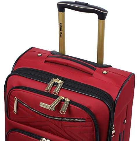 51BtvhNMzpL. AC  - Steve Madden Designer Luggage Collection - Lightweight Softside Expandable Suitcase for Men & Women - Durable 20 Inch Carry On Bag with 4-Rolling Spinner Wheels (Rockstar Red)