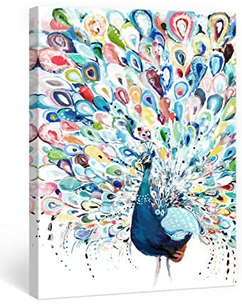 51CWES1TsSL. AC  - Mazjoaru Colorful Peacock Wall Art Canvas Painting Rainbow Bird Picture Animal Framed Print Modern Home Decor Bathroom Bedroom Living Room Ready to Hang Frameless12x16 inches