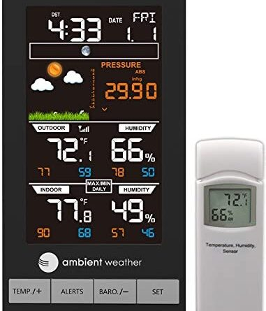 51CgeRIEUL. AC  381x445 - Ambient Weather WS-2801A Advanced Wireless Color Forecast Station w/Temperature, Humidity, Barometer
