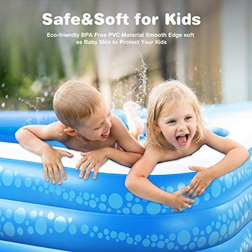 """51D07ocHcwL. AC  - Inflatable Pool, Hesung 117"""" X 69""""X 21"""" Family Swimming Pool for Kids, Toddlers, Infant, Adult, Full-Sized Inflatable Blow Up Kiddie Pool for Ages 3+, Outdoor, Garden, Backyard, Summer Swim Center"""