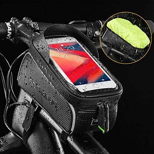 """51FSB2fueGL. AC  - ROCKBROS Top Tube Bike Bag Waterproof Bicycle Bag Touch Screen Bike Pouch Bike Cell Phone Holder Cycling Accessories for iPhone 12 11 7 8 Plus Xs Max Below 6.7"""""""