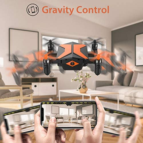51FoL6vP+TL. AC  - Mini Drone with Camera for KidsBeginners, Foldable Pocket RC Quadcopterwith App Gravity Voice Control Trajectory Flight, FPV Video, Altitude Hold, Headless Mode, 360°Flip, Toys Gifts for Boys Girls