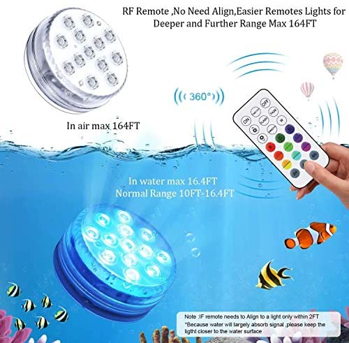 51HlzXeicnL. AC  - Waterproof Submersible Led Pool Lights Underwater, 16 Colors Pond Lights with Remote, Suction Cups & Magnet, Halloween Decor Lamp for In-ground Pool Bathtub Fish Tank Christmas Decor Lights (4 Pack)