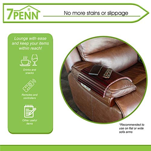 51IrN52JLSL. AC  - 7Penn Natural Bamboo Sofa Armrest - Anti-Slip Couch Coaster Drink Holder Table for Squared Edge Armrests Mahogany Finish