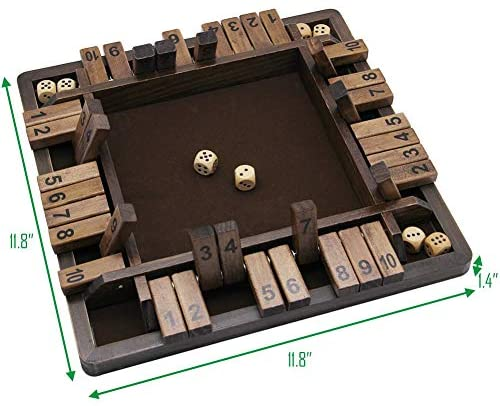 51Is25Yk70L. AC  - Juegoal Wooden 4 Players Shut The Box Dice Game, Classics Tabletop Version and Pub Board Game, 12 inch