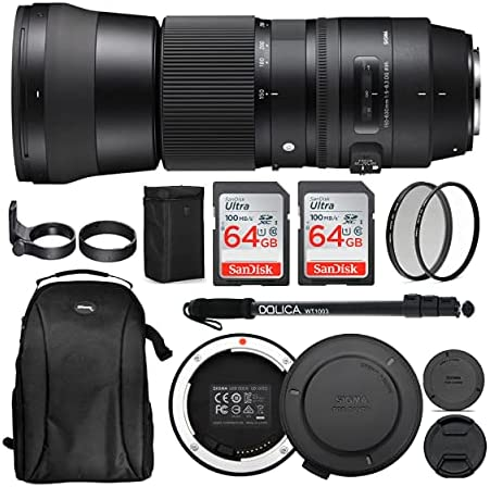 51JbojezN9S. AC  - Sigma 150-600mm 5-6.3 Contemporary DG OS HSM Lens for Canon DSLR Cameras USB Dock and Two 64GB SD Card Bundle (7 Items)