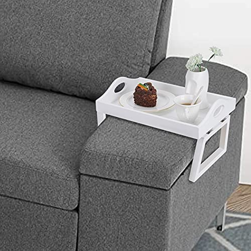 51LWDKS+dfS. AC  - TRSPCWR 2pcs Arm Clip Table, Couch Arm Table, 7.8x11.8in, Arm Rest Table, Armrest Table Tray, Sofa Armrest Tray, Side Table Tray for Drinks, Portable Remote Control, Snacks Holder, Wooden, White