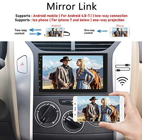 51MVz2ocIcL. AC  - Double Din Android Car Stereo with GPS 7 Inch Touch Screen Car Radio Bluetooth Supports Mirror Link for iOS/Android Phones WiFi Connect + Backup Camera