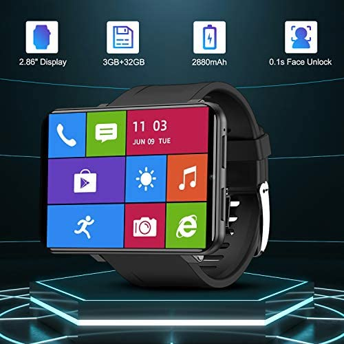 """51MreOb8NIL. AC  - TICWRIS Andriod Smart Watch, GPS Android Smartwatch, 4G LTE with 2.86"""" Touch Screen, Face Unclok Phone Watch with 2880mAh Battery, IP67 Waterproof Sport Watch,3GB+32GB Andriod Watch for Men (Black)"""