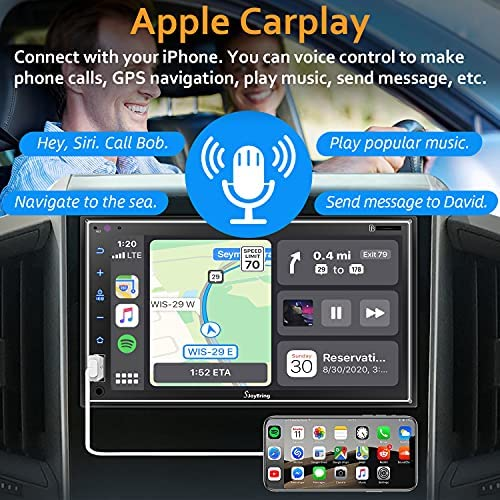 """51P5Wki4SLS. AC  - Car Stereo Compatible with Apple Carplay, Double Din 7"""" Full Touch HD Capacitive Screen - Mirror Link, Bluetooth, Backup Camera, Steering Wheel Controls, Subwoofer, USB/SD Port, AM/FM Car Radio"""