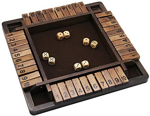 51P7 y cKoL. AC  - Juegoal Wooden 4 Players Shut The Box Dice Game, Classics Tabletop Version and Pub Board Game, 12 inch