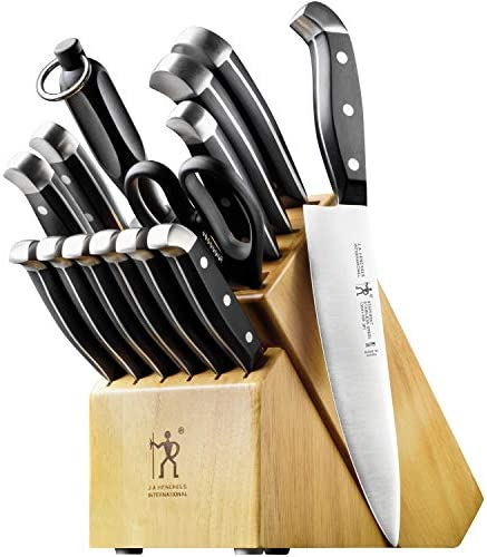 51PXlv7LoBL. AC  - J.A. Henckels International Statement Kitchen Knife Set with Block, 15-pc, Chef Knife, Steak Knife set, Kitchen Knife Sharpener, Light Brown