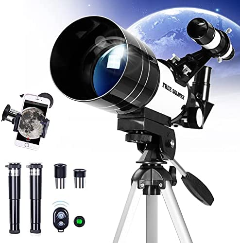 51QBh3fGukS. AC  - FREE SOLDIER Telescope for Kids Astronomy Beginners - 70mm Aperture High Magnification Astronomical Refractor Telescope with Phone Adapter Wireless Remote Portable Telescope for Kids,White
