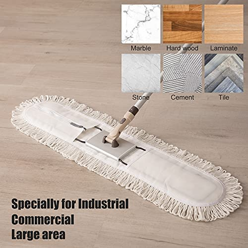 """51QMVX6OamS. AC  - Eyliden 36"""" Professional Industrial Mop, Commercial Cotton Dust Mops Broom, Telescopic Handle Residential Commercial Floor Cleaning Tools for Home Mall Hotel Office Garage (White, 36"""")"""