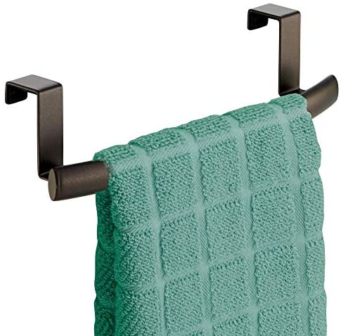"""51QhiLgcQOL. AC  - mDesign Modern Metal Kitchen Storage Over Cabinet Curved Towel Bar - Hang on Inside or Outside of Doors, Organize and Hang Hand, Dish, and Tea Towels - 9.7"""" Wide, 2 Pack - Bronze"""