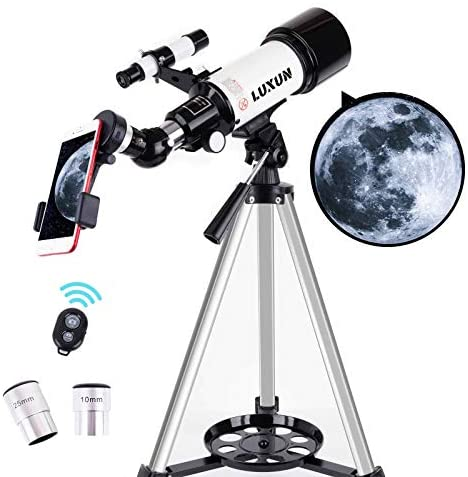 51S4GpGPi4L. AC  - LUXUN Telescope for Astronomy Beginners Kids Adults, 70mm Aperture 400mm Astronomical Refracting Portable Telescope - Travel Telescope with Phone Adapter Carry Bag