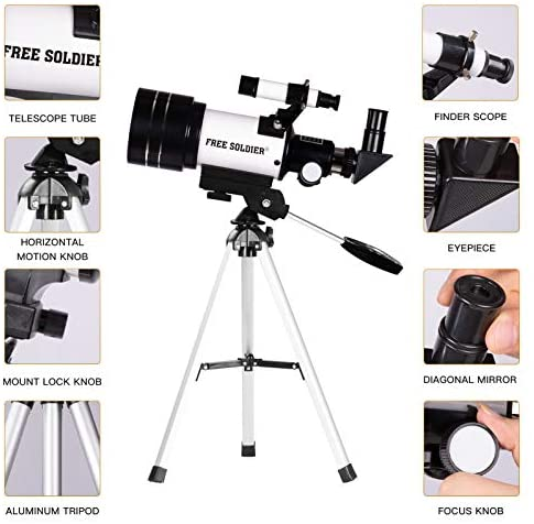 51SP4z0EIGL. AC  - FREE SOLDIER Telescope for Kids Astronomy Beginners - 70mm Aperture High Magnification Astronomical Refractor Telescope with Phone Adapter Wireless Remote Portable Telescope for Kids,White