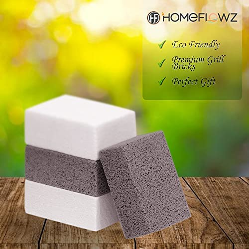 51WU3DbH7eS. AC  - Homeflowz Grill Brick 4 Pack - Grill Cleaning Bricks for BBQ - Refined Pumice Grill Stone - Griddle Brick for Safe Effective Non Abrasive Cleaning - Grill Brick for Flat Top Grills Grates Pool & More
