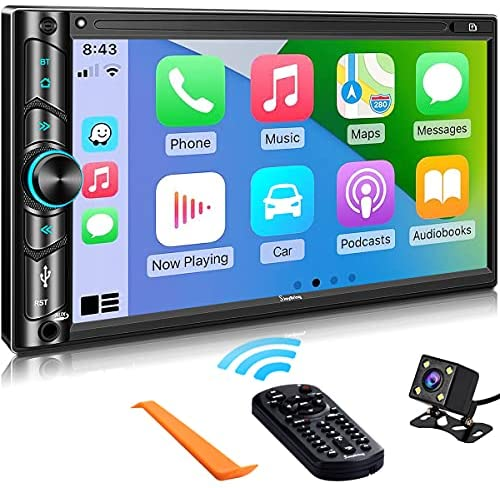 51WkZ17c41S. AC  - Advanced Double Din Carplay Car Stereo Kit with Voice Control, Mirror-Link Compatible with iOS & Android,Support Backup & Frontview Camera, Bluetooth 5.0, Steering Wheel, AM/FM Car Radio Receiver