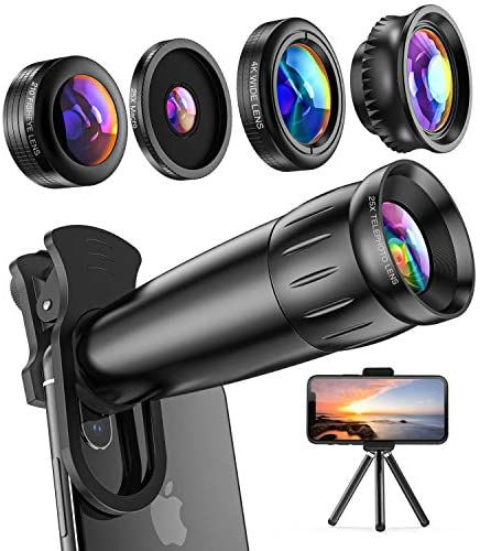 51Y+6FoU2KL. AC  - LIERONT Phone Camera Lens for iPhone Samsung Huawei, 25X Telephoto Lens, 4K HD 0.65X Wide Angle Lens & 25X Macro Lens(Screwed Together), 210° Fisheye Lens, Kaleidoscope Lens (Not Pro Camera)