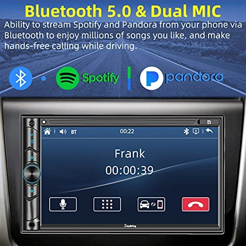 51Y+LTL2ryS. AC  - Advanced Double Din Carplay Car Stereo Kit with Voice Control, Mirror-Link Compatible with iOS & Android,Support Backup & Frontview Camera, Bluetooth 5.0, Steering Wheel, AM/FM Car Radio Receiver