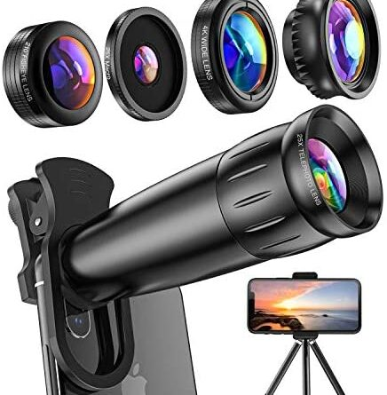 51Y6FoU2KL. AC  436x445 - LIERONT Phone Camera Lens for iPhone Samsung Huawei, 25X Telephoto Lens, 4K HD 0.65X Wide Angle Lens & 25X Macro Lens(Screwed Together), 210° Fisheye Lens, Kaleidoscope Lens (Not Pro Camera)