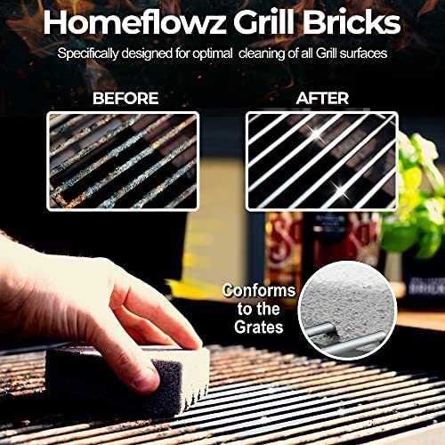 51YQ0BPlAgS. AC  - Homeflowz Grill Brick 4 Pack - Grill Cleaning Bricks for BBQ - Refined Pumice Grill Stone - Griddle Brick for Safe Effective Non Abrasive Cleaning - Grill Brick for Flat Top Grills Grates Pool & More