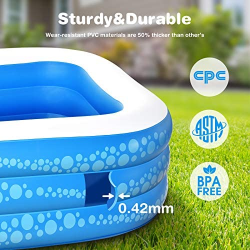 """51bMPWcIA3L. AC  - Inflatable Pool, Hesung 117"""" X 69""""X 21"""" Family Swimming Pool for Kids, Toddlers, Infant, Adult, Full-Sized Inflatable Blow Up Kiddie Pool for Ages 3+, Outdoor, Garden, Backyard, Summer Swim Center"""