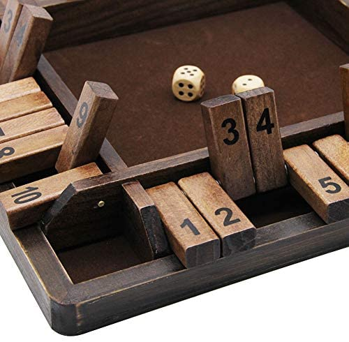 51cghx7hRTL. AC  - Juegoal Wooden 4 Players Shut The Box Dice Game, Classics Tabletop Version and Pub Board Game, 12 inch