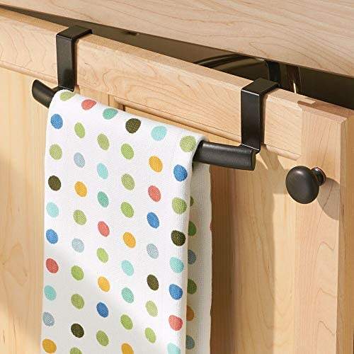 """51d4Qm7HULL. AC  - mDesign Modern Metal Kitchen Storage Over Cabinet Curved Towel Bar - Hang on Inside or Outside of Doors, Organize and Hang Hand, Dish, and Tea Towels - 9.7"""" Wide, 2 Pack - Bronze"""