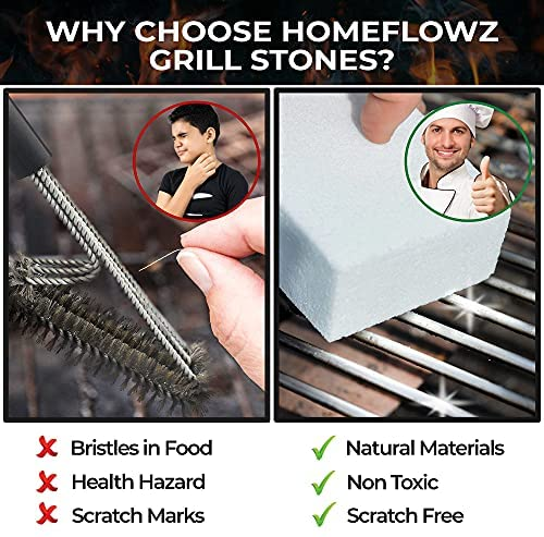 51dJSwjXXzS. AC  - Homeflowz Grill Brick 4 Pack - Grill Cleaning Bricks for BBQ - Refined Pumice Grill Stone - Griddle Brick for Safe Effective Non Abrasive Cleaning - Grill Brick for Flat Top Grills Grates Pool & More