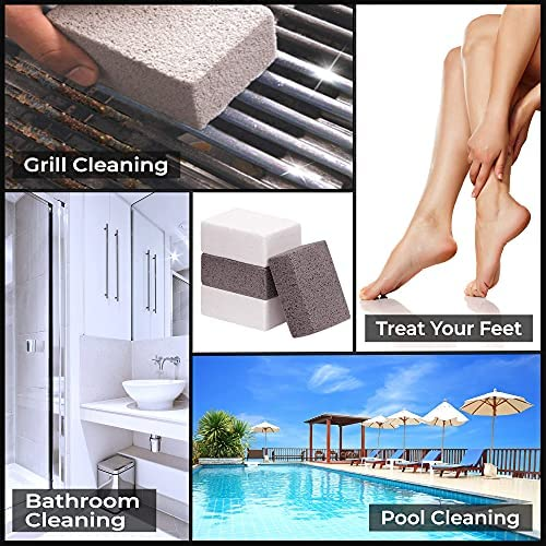 51fR4QwLtiS. AC  - Homeflowz Grill Brick 4 Pack - Grill Cleaning Bricks for BBQ - Refined Pumice Grill Stone - Griddle Brick for Safe Effective Non Abrasive Cleaning - Grill Brick for Flat Top Grills Grates Pool & More