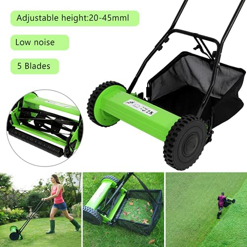 51gEDIKXEPS. AC  - Olenyer 16-Inch Quiet Cut Push Reel Lawn Mower with 5-Blade Push Reel,Green